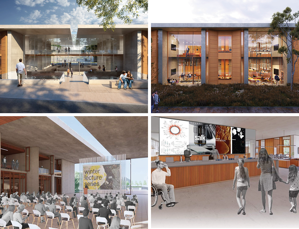 Renderings of the new facility that will be built on the original campus. It will include hubs for bioengineering, computation and translation.